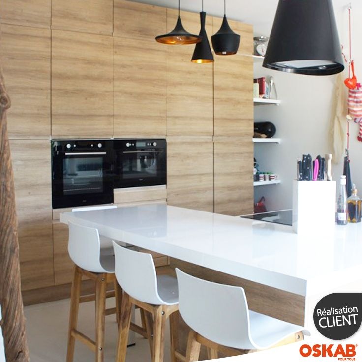 Grande cuisine ouverte et sans poignée décor bois Cuisine - modele de cuisine americaine