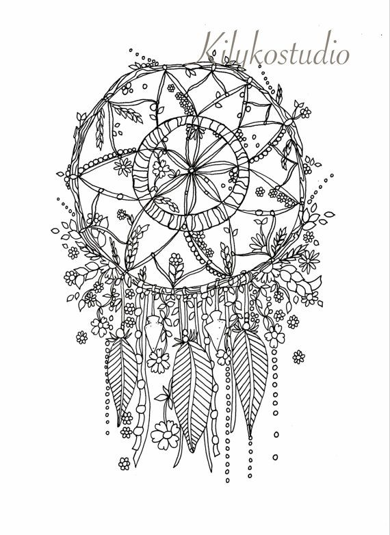 picture regarding Printable Adult Coloring Pages Dream Catchers known as Desire catcher botanical wildflower grownup coloring webpage