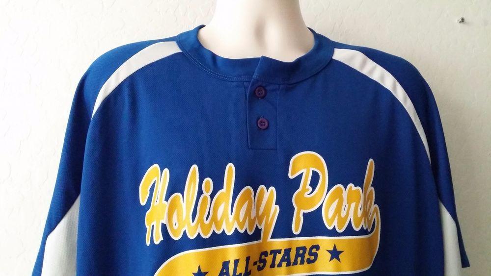 TEAMWORK ATHLETIC APPAREL Shirt 2XL HOLIDAY ALL STARS Baseball Blue Henley EUC #TeamworkAthletic #ebay #TeamworkAthletic #2XL
