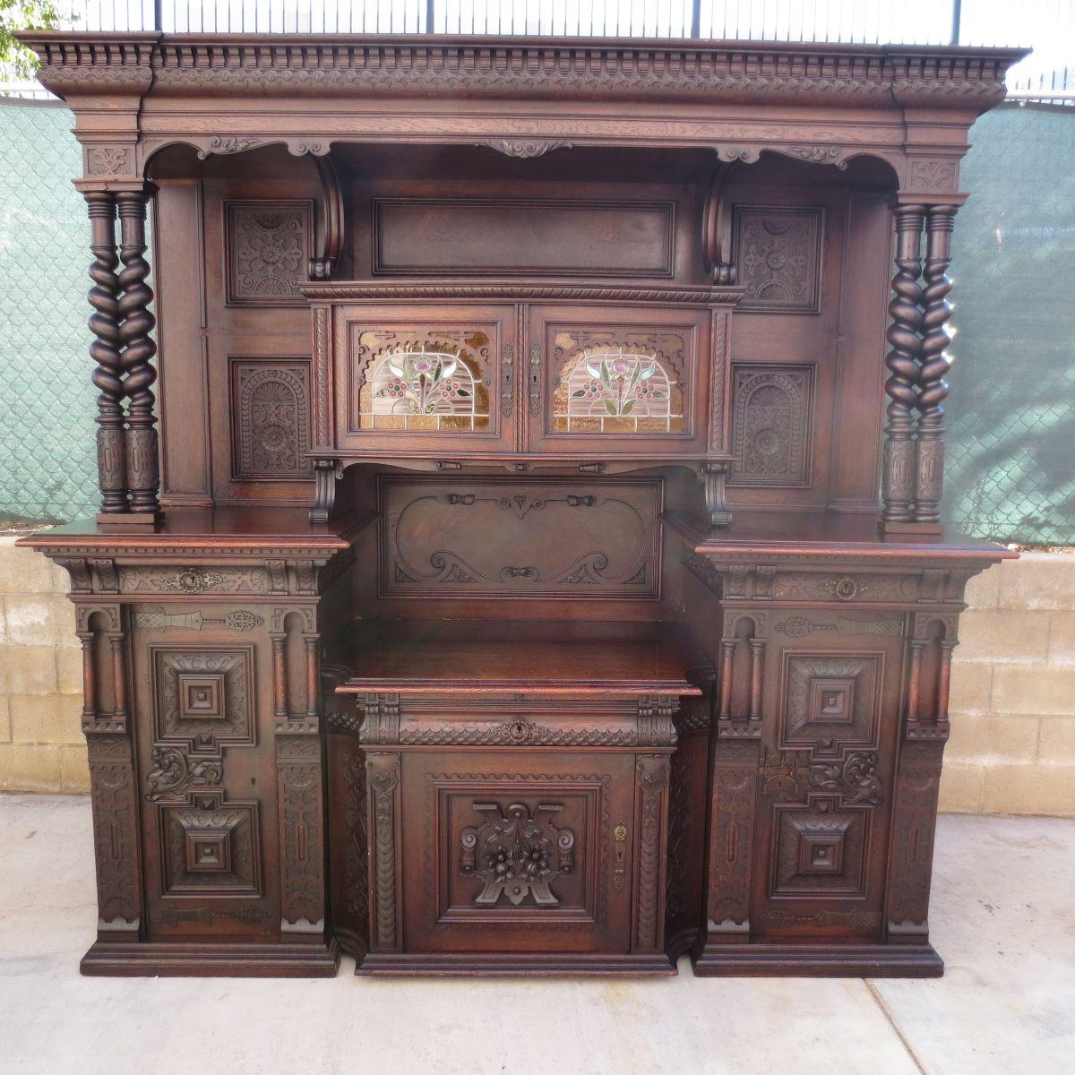 German Antique Cabinet Antique Back Bar Antique Hutch