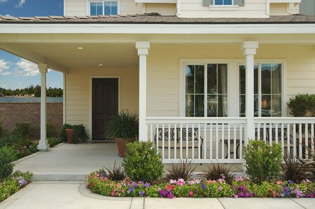 White Porch Rail Metal Benches Front Porch Landscaping Network
