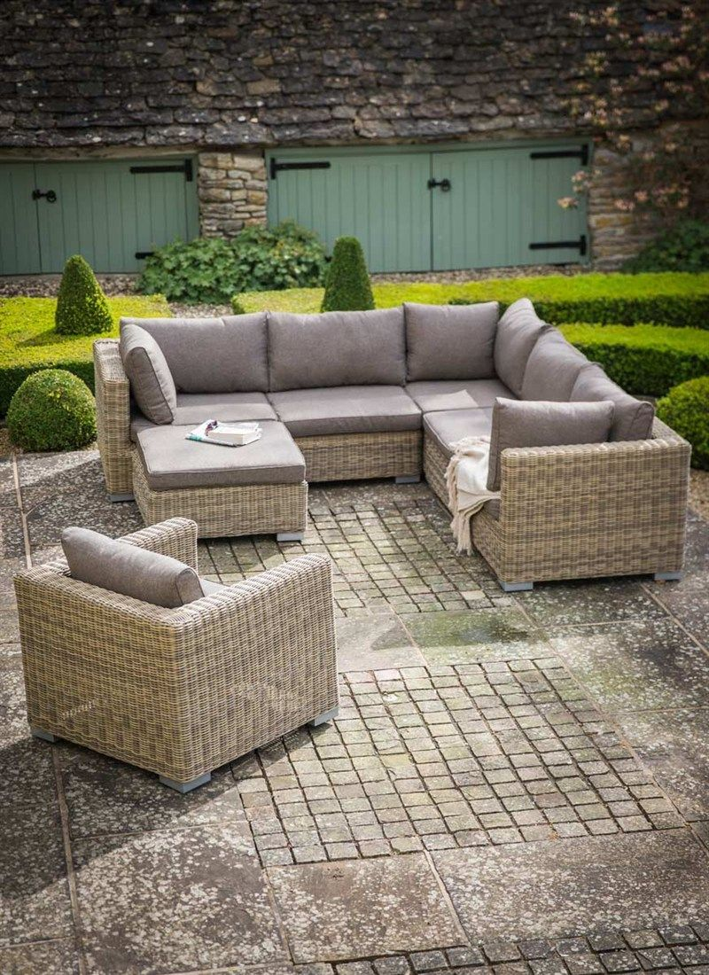 Luxury Outdoor Garden U Shape Corner Sofa Set Group Brown Rattan Cream Truly Stunning In Design This 4 Seater Corner Sofa Gives A Super Hi U Shaped Corner Sofa