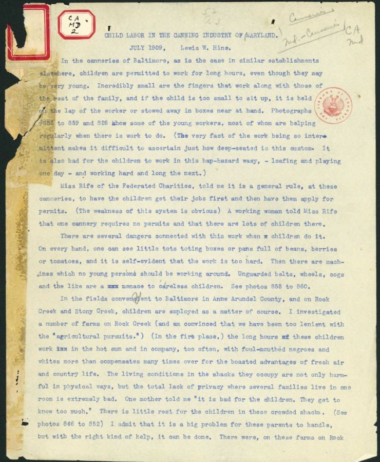 Primary Source Outlining The Poor Conditions Children Had To