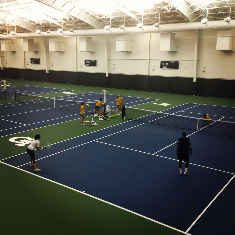 The women's tennis team practices in the new Ken Byers