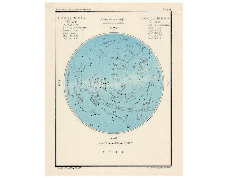 1955 October Constellation Chart Vintage Lithograph Original