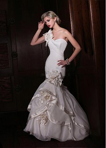 Glamorous Organza Satin One Shoulder Neckline Natural Waistline Mermaid Wedding Dress With Handmade Flowers