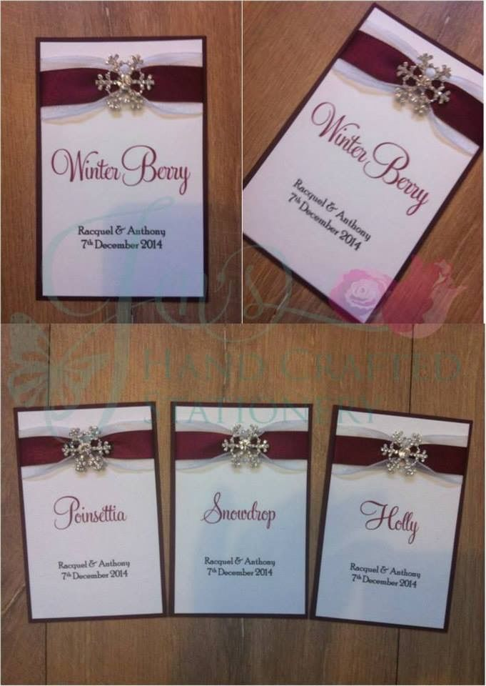 Burgundy and Ivory winter themed wedding table names with diamanté ...