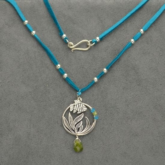 fish charm ocean jewelry beach jewelry necklace design finished