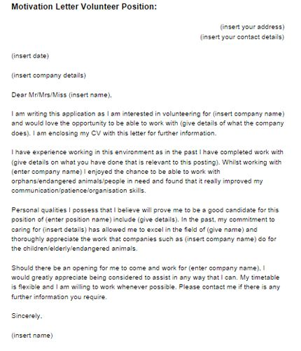 cover letter template volunteer position