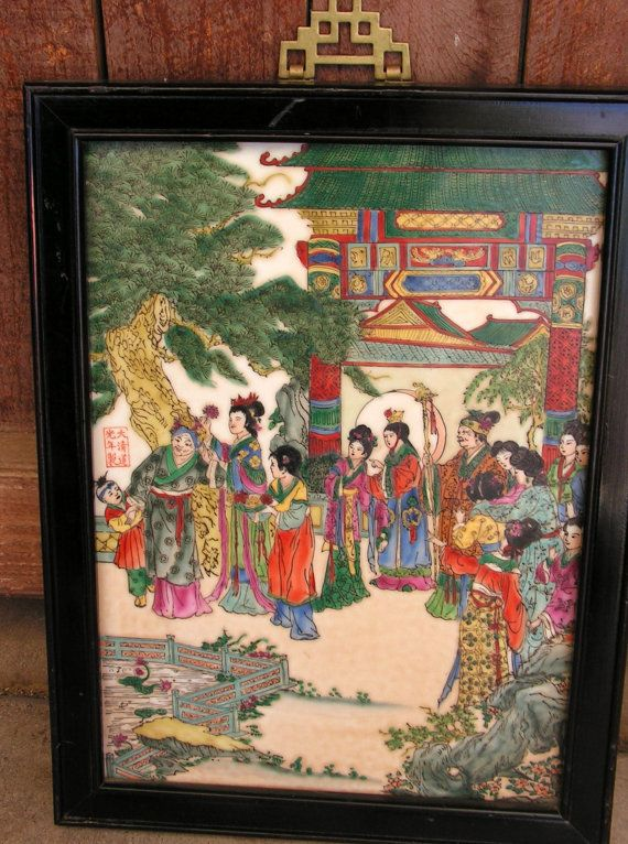 Vintage Chinese Famille Rose Porcelain Plaque Dream Of