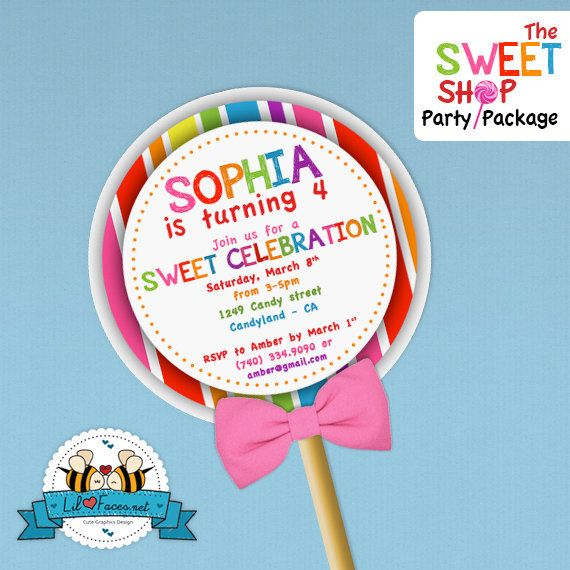 Sweet shop lollipop birthday party invitation lollipop birthday sweet shop lollipop birthday party invitation filmwisefo