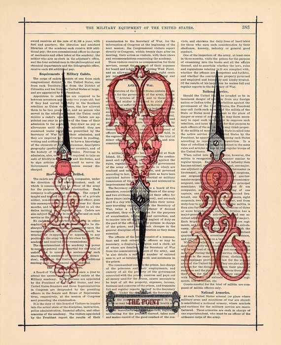 ANTIQUE SEWING SCISSORS ALTERED ART UPCYCLED VINTAGE DICTIONARY PAGE WALL PRINT!