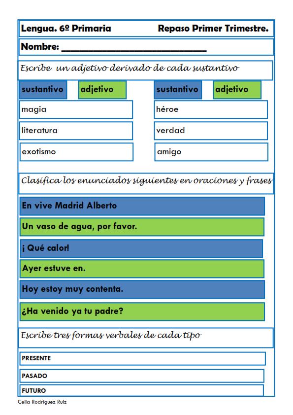 Fichas De Lengua Para Sexto De Primaria Primarias Lengua Fichas