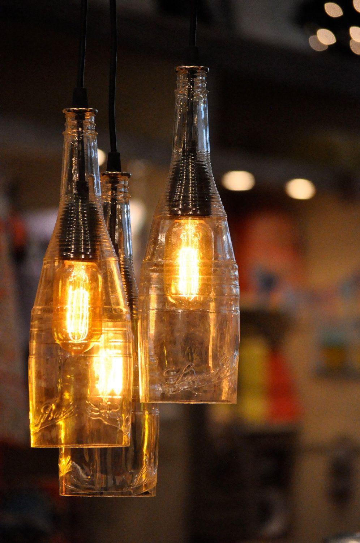 The Atomic Lounge Recycled Liqueur Bottle Hanging Pendant Lamp With Edison Bulbs Modern Rustic Light Fixture Farmhouse Light Bottle Lights Old Wine Bottles Wine Bottle Diy