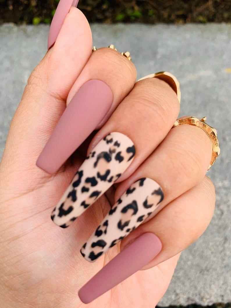 Cheetah Print | Press On Nails | Mauve  Nails | Any Shape and Size | Fake Nails | Matte | Coffin Nails