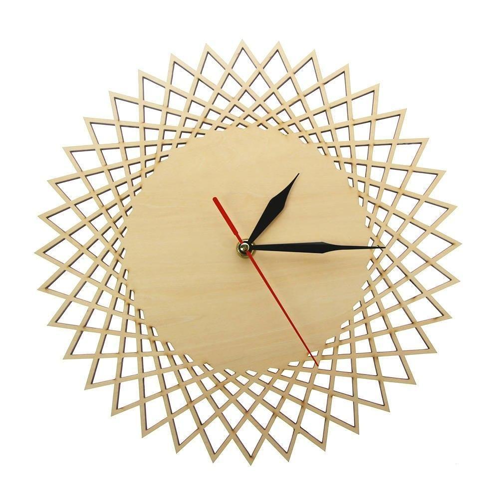 Modern Spiral Hanging Minimalist Wooden Wall Clock Silent Savanna Geometric Clock Watch Unique Design Geometric Clock Wall Clock Silent Modern Clock