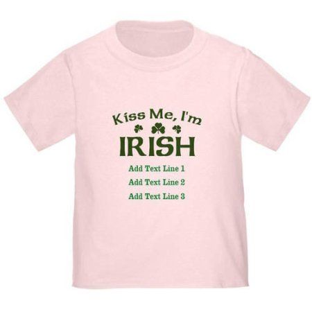 CafePress Personalized Kiss Irish Toddler T-Shirt, Toddler Boy's, Size: 4 Years, Pink