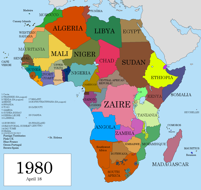 1980 Map Of Africa Africa 1980 | Africa map, Africa, Sierra leone