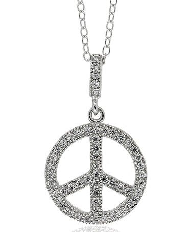 Take a look at this Cubic Zirconia & Sterling Silver Peace Sign Pendant Necklace by Dolce Giovanna on #zulily today!