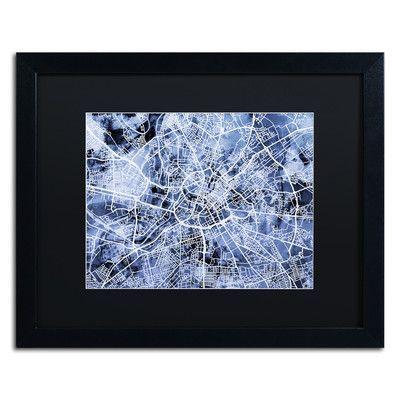 """Trademark Art """"Manchester Street Map"""" by Michael Tompsett Framed Graphic Art Size: 16"""" H x 20"""" W x 0.5"""" D"""