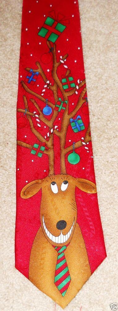 Smiling Reindeer Yule Tie Greetings Novelty Hallmark Red Green Brown Deer #Hallmark #NeckTie