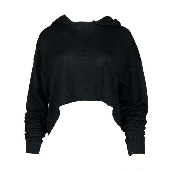 Black Cropped Hoody ($43) ❤ liked on Polyvore featuring tops ...