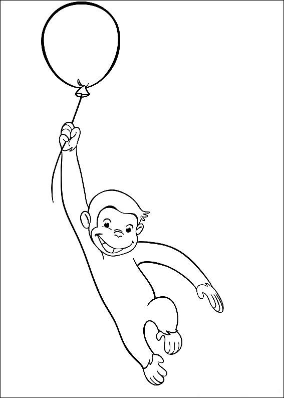 Curious George Baloons Coloring Pages Image Curious George