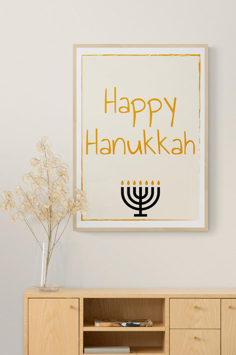 Happy Hanukkah Sign Happy Hanukkah Printable Wall Art Minimalist Hanukkah Prints Simple Hanukkah Prints Hanukkah Wall Art חנוכה שמח Printable Wall Art Etsy Happy Hanukkah Hanukkah