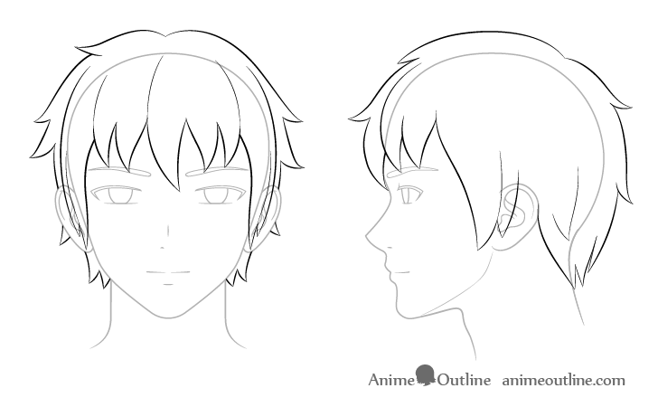 How To Draw Anime And Manga Male Head And Face Animeoutline Face Side View Drawing Anime Drawings Drawings