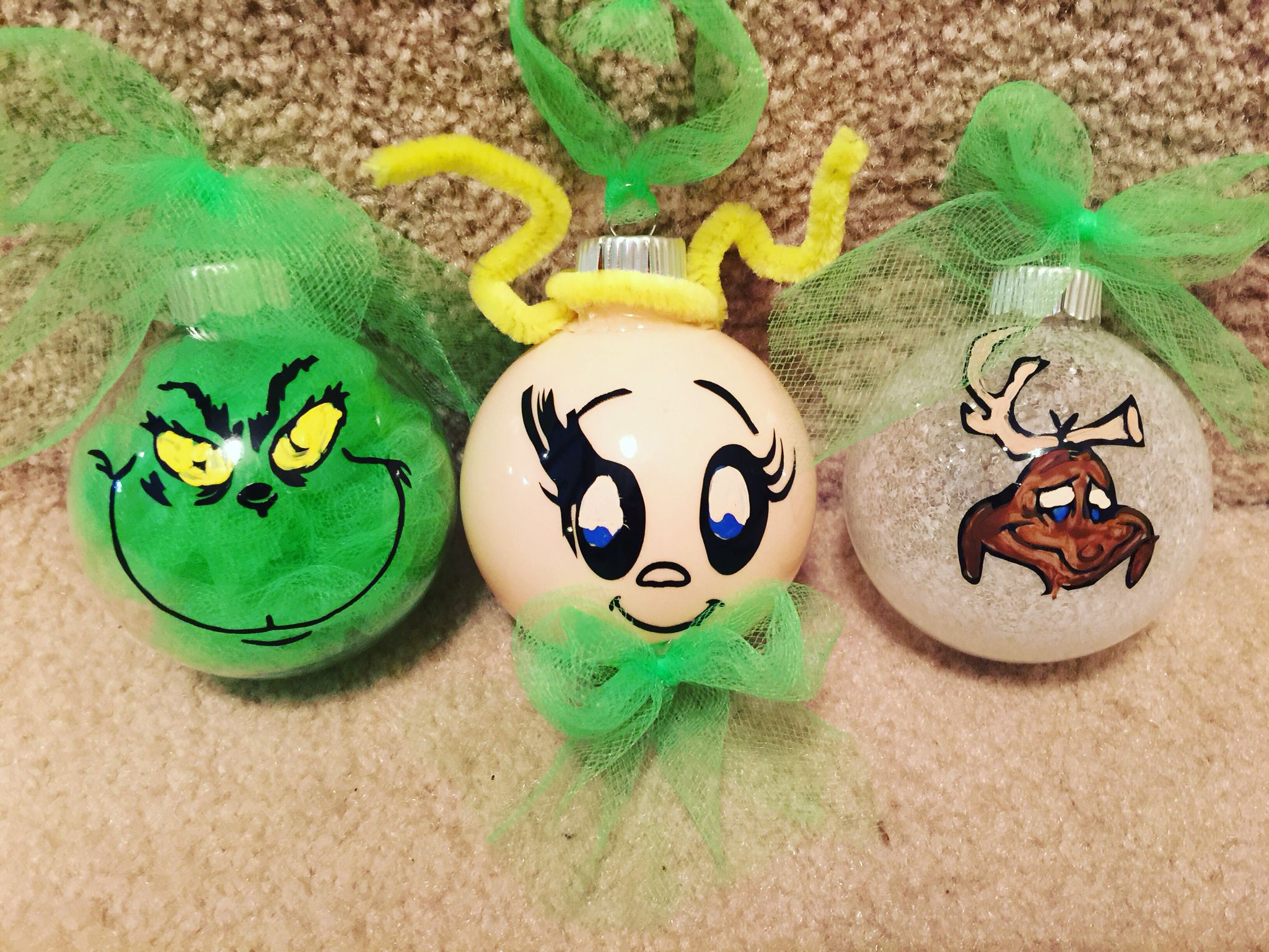 I Made These Grinch Character Ornaments With My Cricut Some Vinyl And A Little Paint Christmas Tree Themes Christmas Ornaments Snowman Tree