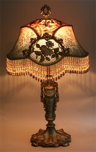 Ornate Art Nouveau Style Antique Hand Painted Lamp Base Holds A French Empire Shade Shade Is In Colors Of Victorian Lamps Art Nouveau Lighting Antique Lamps