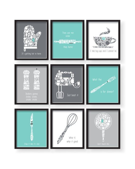 Funny Kitchen Prints   Dining Room Wall Art   Set of 9 prints for kitchen   Dining room wall art images