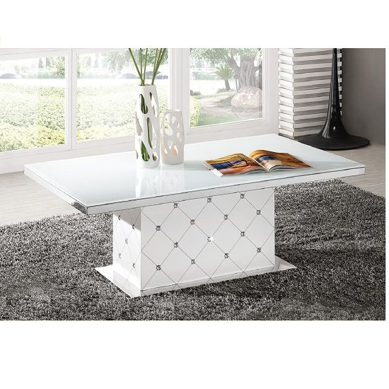 Best Levono High Gloss Coffee Table In White With Rhinestone 400 x 300
