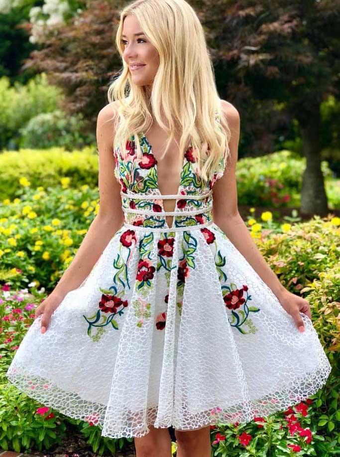 cheap formal lace floral short dress