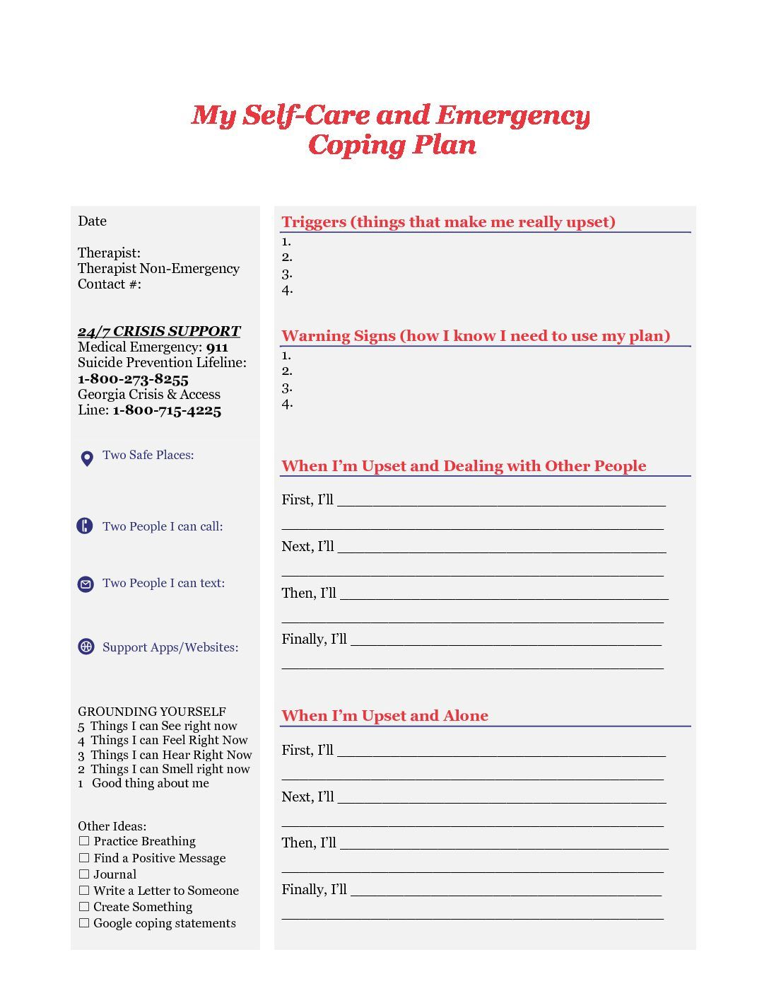Safety Self Care Plan Therapy Worksheets Coping Skills Counseling Worksheets Mental health crisis plan template