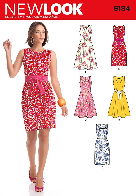 6184 Misses\' Dresses Misses\' sleeveless dress with pleated neckline ...