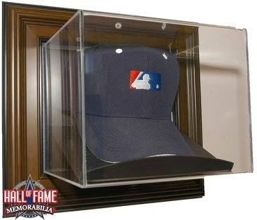 Wall Mount Baseball Cap Display Case With Classic Wood Finish Frame Baseball Cap Display Display Case Wood Finish