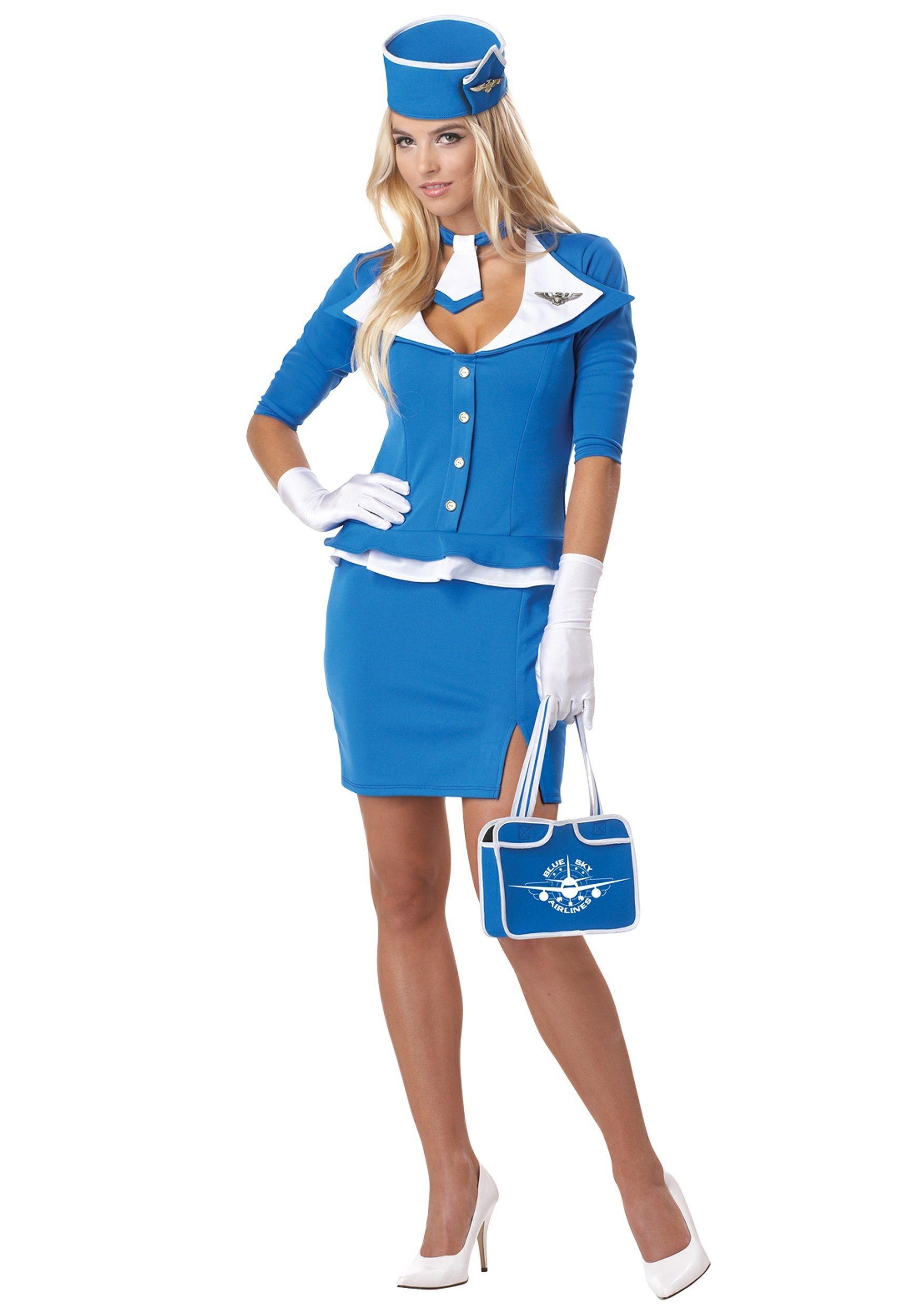 fb509b19c6723 Plus Size Retro Stewardess Costume