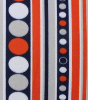 Blizzard Fleece Fabric Navy Orange  Circle Stripe