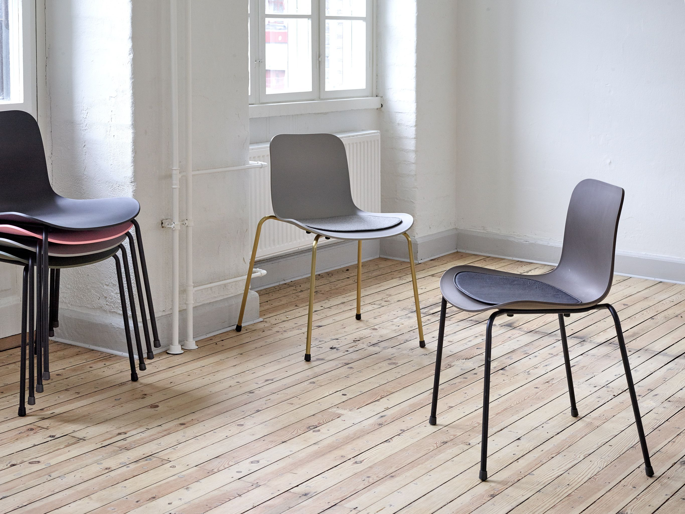 Norr11 Langue Stack Dining Chairs With Our Langue Chair Seat Cushion