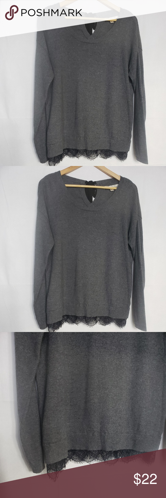 Lauren Conrad Grey Long Sleeved Sweater Size M Lauren Conrad Grey Long Sleeved Sweater Light Knit  Black Laced Scalloped Hem Trim Scoop Neckline Bow Tie Closure Cotton/Rabbit Hair Blend  Length 26 Inches Long Bust 20 Inches Measured Across Garment Laying Flat  Sleeve 25 Inches Measured From Shoulder to Cuff Excellent Pre-Loved Condition LC Lauren Conrad Sweaters Crew & Scoop Necks #laurenconradhair