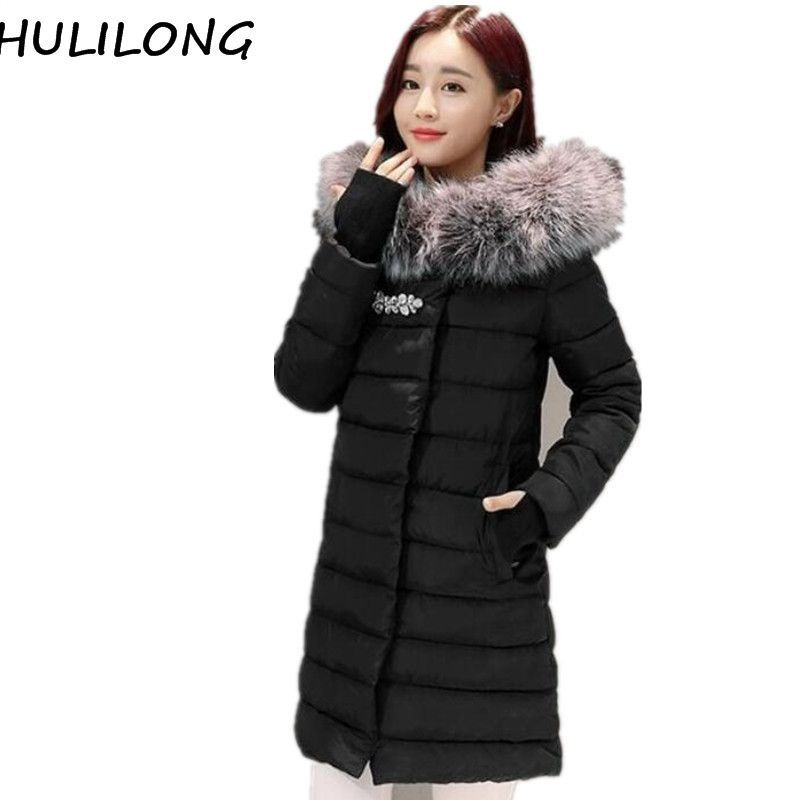 7c4da6e838d HULILONG Winter Jacket Women 2017 New Large Fur Collar Hooded Parka Thick  Coat For Women Outwear Six Colour Slim Female Clothing *** AliExpress  Affiliate's ...