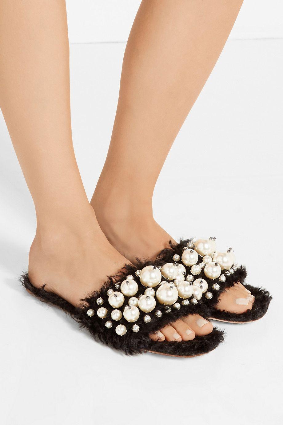 83ee8546b MIU MIU Embellished faux shearling slides Pearl Sandals