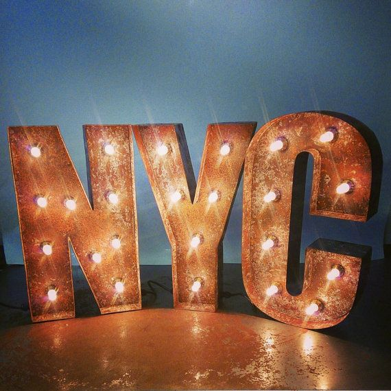 20 50cm Nyc Letter Lights Rusted Steel Made In Great Britain By Bob Cool Light Letters Metal Letters Lighted Marquee Letters