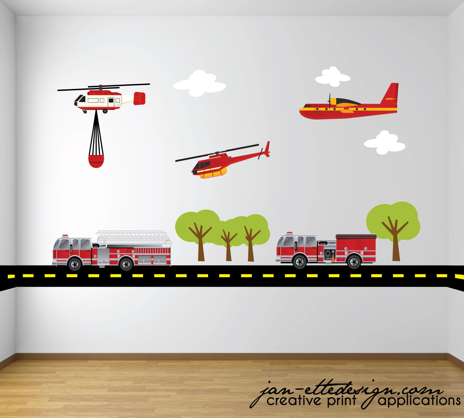 Boys Wall Decals,Fire and Rescue Wall Decal Set,Rescue