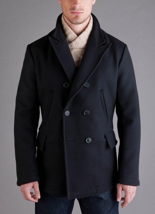 Billy Reid Mens Wool Double Breasted Bond Peacoat