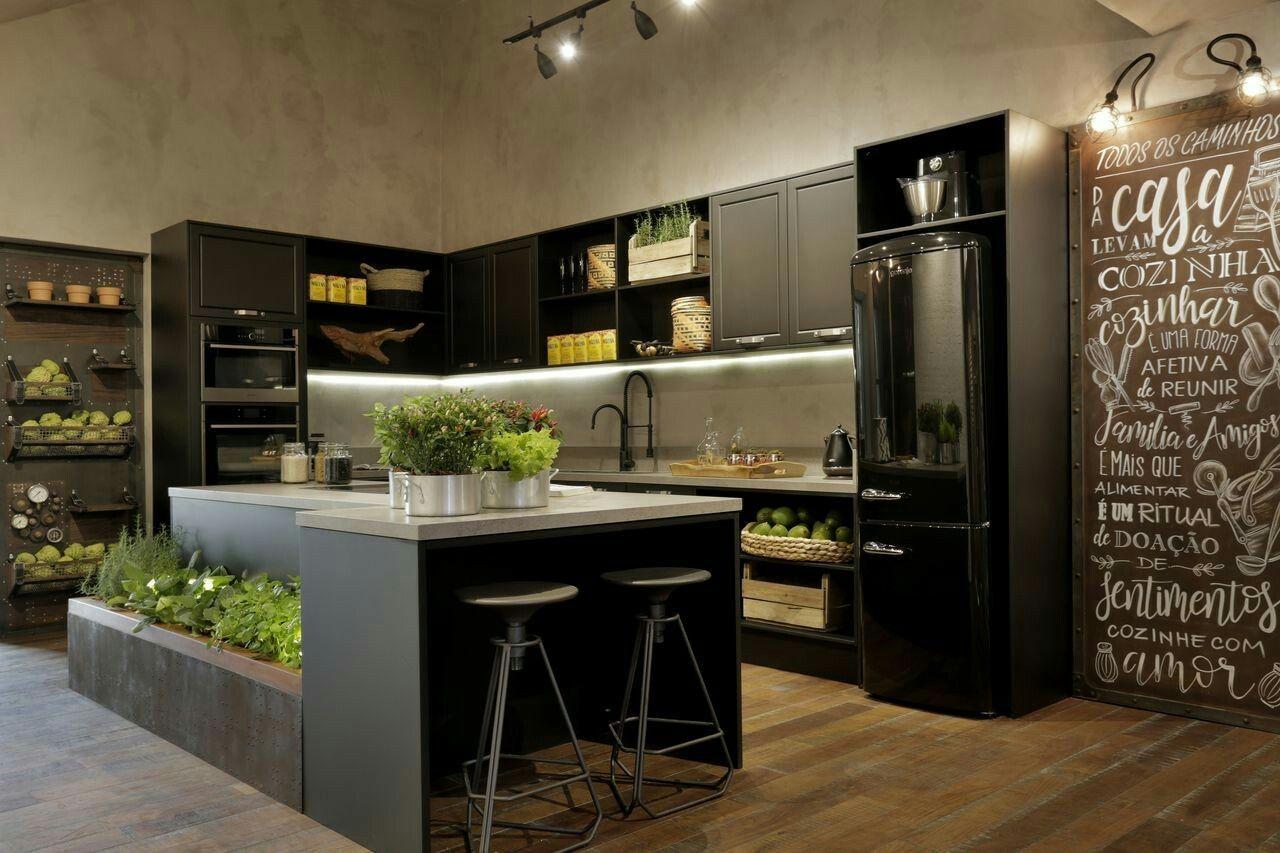 Cozinha Gourmet Estilo Industrial E Ilha Com Horta De Home