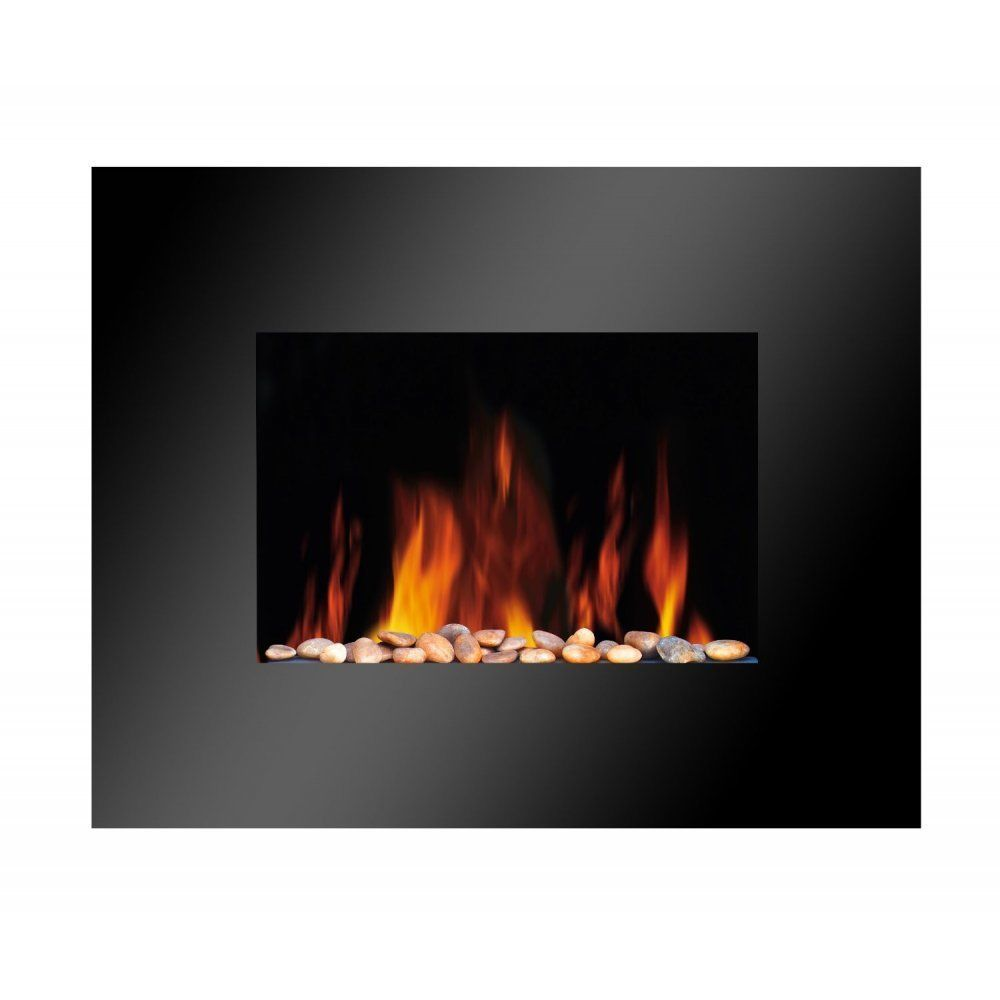 Luxury led flame effect flat wall mounted electric pebble fire