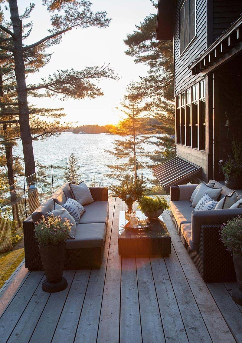 Dreamy rustic-modern lake house with sweeping vistas of Lake Joseph #dreamhouses