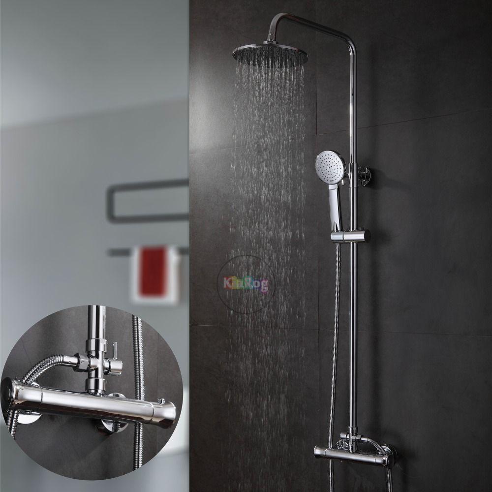 Bathroom Round Shower Head Thermostatic Shower Set. Brass Made ...